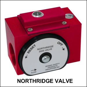 The Northridge 2000 valve seismic shutoff valve will shut off your gas during an earthquake and help prevent earthquake related fires.